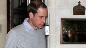 Prince William leaves the King Edward VII hospital in London on Monday where his wife Kate, the Duchess of Cambridge, has been admitted with a severe form of morning sickness.