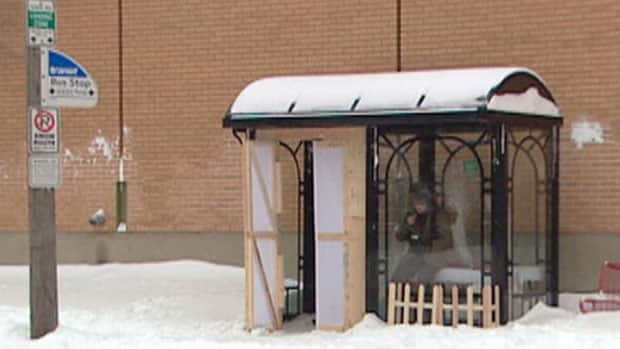 A Saskatoon bus shelter was outfitted as an apartment to rent.