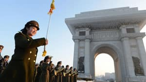 A North Korean military band performs to celebrate their country's rocket launch in front of a triumphal gateway in Pyongyang. North Korea successfully launched a rocket on Dec. 12, boosting the credentials of its new leader and stepping up the threat the state poses to opponents.