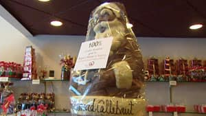 A large chocolate Santa will find a new home on Dec. 19.