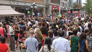 People take part in a 'Dance dance office revolution' on Sparks Street in Ottawa last summer, a project funded by an Awesome Ottawa grant.