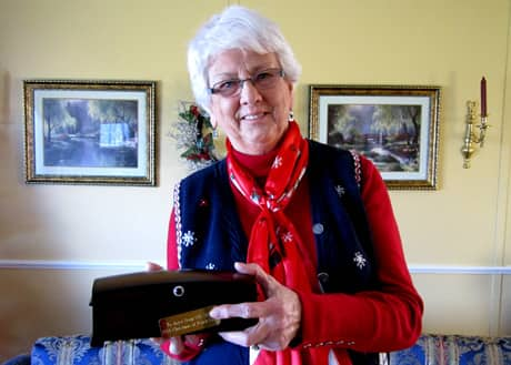 Joyce Manning holds the music box that CBC presented to her earlier this month.