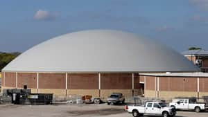 The $2.5-million US Edna hurricane dome, which will also double as a high school gym, is one of 28 structures being built in Texas to shelter residents in the event of a major storm.