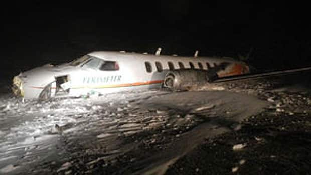 The plane, seen here at the crash site in Sanikiluaq, was a Fairchild Metro 3/23 twin-engine turbo prop.