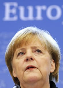 Germany's Chancellor Angela Merkel holds a news conference at the end of a European Union leaders summit in Brussels Dec. 14. Merkel's handling of the euro zone crisis is a likely issue when German voters go to the polls in the Fall.