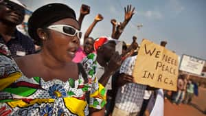 Protesting merchants call for peace in Central African Republic, where anti-government rebels have seized 10 towns in a month.