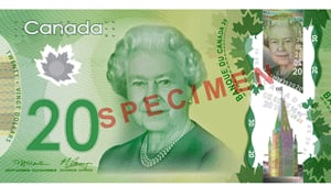 The Bank of Canada released 145,000 new polymer $20 bank notes in November.