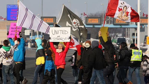 Aboriginal protesters and supporters in the Idle No More movement block the Blue Water Bridge border crossing to the United States in Sarnia over the weekend.