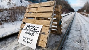 Protesters block the Canadian National rail line between Halifax and Truro in Nova Scotia as part of the Idle No More protests on Millbrook First Nation on Friday.