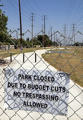 Police or parks? Some hard hit U.S. cities, like Stanton, Calif., have had to suffer both. It closed its lone police station as well as a number of parks.