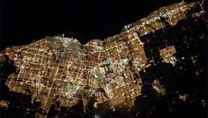 Canadian astronaut Chris Hadfield shared a photograph on Saturday of Toronto - 'home of my favourite team,' the Maple Leafs, he wrote - as seen from the International Space Station.
