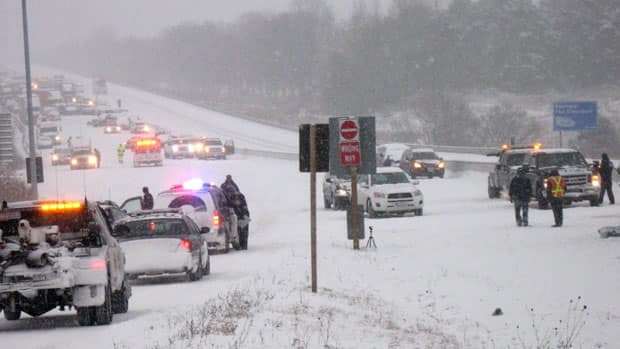 The OPP says five people were taken to hospital, two with life-threatening injuries.