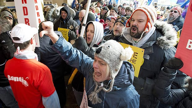 Ontario Liberal Party leadership convention delegates were greeted by hundreds of protesters as they arrived at the Mattamy Athletic Centre in Toronto on Saturday.