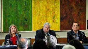 Commissioners Marie Wilson, from left, Justice Murray Sinclair and Chief Wilton Littlechild released an interim report last February. The commission must wrap up its work by July, 2014.