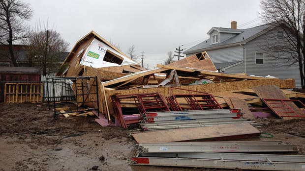 Strong winds in the Halifax area blew down a house under construction on Layton Road, off Herring Cove Road.