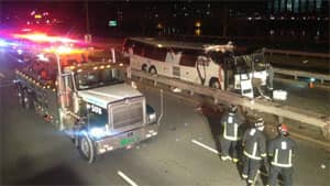 A bus bound for Pennsylvania struck a bridge in Boston, injuring at least 32 people, on Saturday, say authorities.