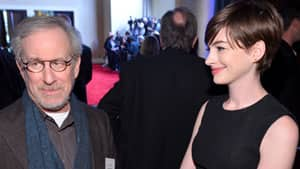 Director Steven Spielberg and actress Anne Hathaway attend the 85th Academy Awards Nominations Luncheon at The Beverly Hilton Hotel.