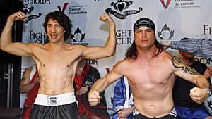 Justin Trudeau and Patrick Brazeau just prior to a charity boxing match in March 2012. Trudeau won.
