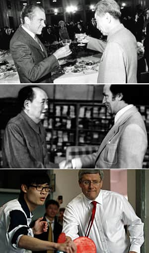 The evolution of ping-pong diplomacy. Richard Nixon and Zhou Enlai in February 1972. Pierre Trudeau meets Mao Zedong in October 1973. Stephen Harper plays table tennis with a student at Huamei Bond International School in Guangzhou in February 2012.