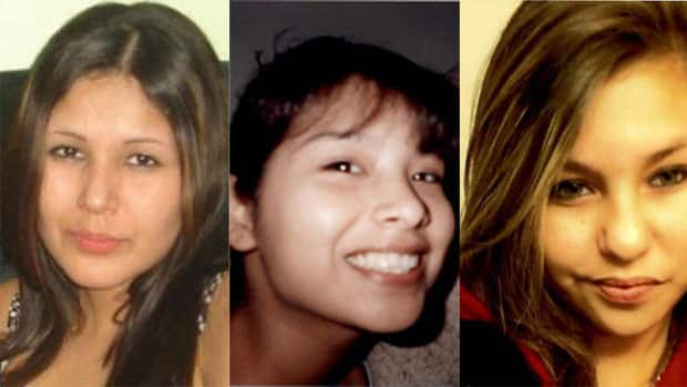 The bodies of Carolyn Sinclair (left) and Lorna Blacksmith (right) have been found but not Tanya Jane Nepinak's (centre).