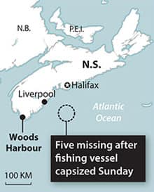 The Miss Ally went missing about 120 kilometres southeast of Liverpool.