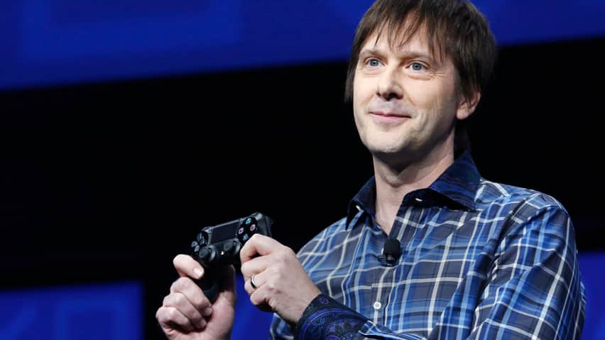 Sony's lead system architect Mark Cerny holds a gaming control device during the unveiling of the PlayStation 4 launch event in New York on Wednesday.
