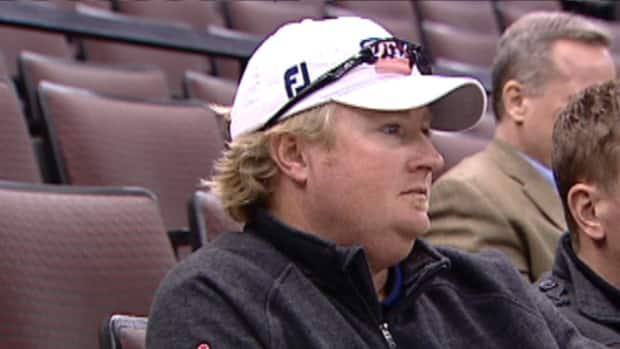 Manotick's Brad Fritsch, a rookie on the 2013 PGA Tour, takes in an afternoon practice with the Ottawa Senators on Thursday.