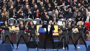 Singer Psy performs during the inauguration of South Korea's new President Park Geun-hye at the parliament in Seoul.