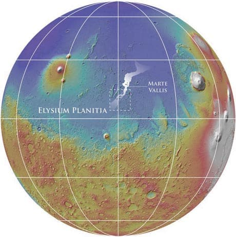 This map shows the location of the Marte Vallis channel system on Mars.