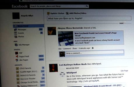The old news feed took up only about 40 per cent of the screen width.