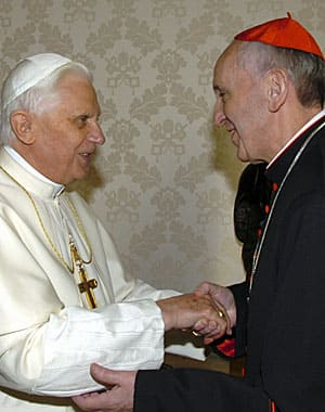 Pope Benedict and Argentina's Cardinal Jorge Bergoglio, the one-two finishers in 2005, meet again at the Vatican in 2007.