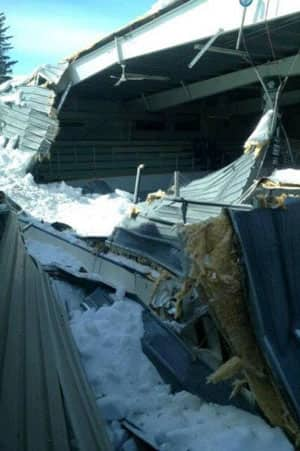 The roof of the rink in Bredenbury collapsed under the weight of snow.