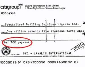The term PCC appears as SNC-Lavalin International budget line items and on cheques, like the one above.