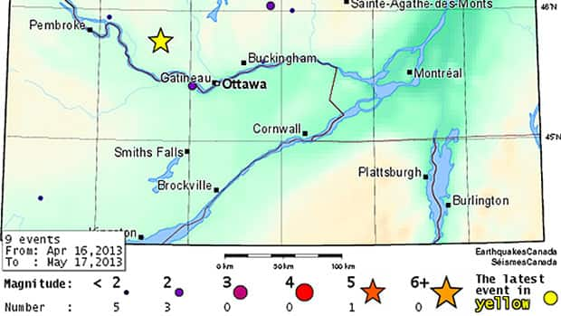 This diagram shows the approximate location of Friday morning's earthquake.