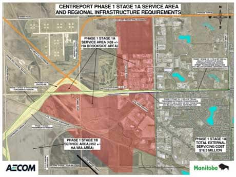 In this CentrePort map, the proposed Chief Peguis Trail extension is shown cutting into the northwest corner of Little Mountain Park.