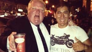 Toronto Mayor Rob Ford poses for a photograph at the Taste of the Danforth Festival on Friday night.