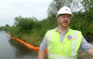 Jeff Kimble, an incident commander for the U.S. Environmental Protection Agency, next to the Kalamazoo River near the village of Ceresco, Mich.