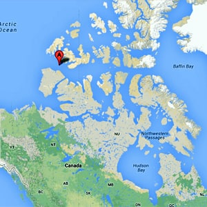 This map shows the location of the crash, about 600 kilometres west of Resolute, in the Northwest Passage north of Banks Island.