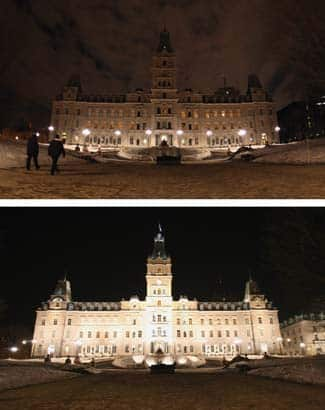 The Quebec legislature, during and after Earth Hour 2009.