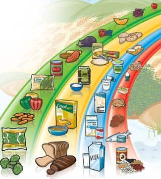 Canada's Food Guide is arranged as a rainbow, with fruits and vegetables making up the largest component.