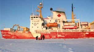 The Canadian Coast Guard ship Amundsen remained mobile all winter  during the Arctic Ocean for the Circumpolar Flaw Lead study.