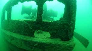 A view of the bow of the sternwheeler A.J. Goddard, found this summer at the bottom of Lake Laberge, shows the windlass used to raise and lower the steamboat's anchors.