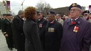 Gov. Gen. Michaëlle Jean thanked veterans personally for their service during a ceremonial inspection Friday.