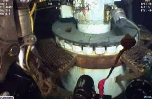 An image taken from video released by BP shows the equipment being used to cap the oil well in the Gulf of Mexico.