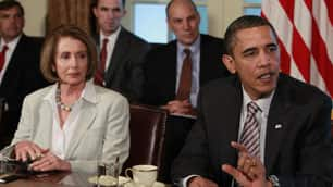 House Speaker Nancy Pelosi looks on as Obama makes a statement to reporters at the White House on Thursday.