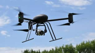 The Ontario Provincial Police's Draganflyer X6 unmanned aerial vehicle is manufactured by Saskatoon-based Draganfly Innovations.