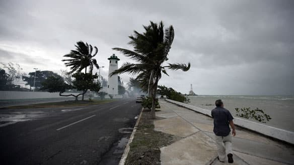 Palm trees move in the wind as a man walks near shore in Chetumal,  Mexico, on Saturday. Tropical storm Alex was gaining strength over the  Gulf of Mexico on Monday as it headed toward Mexico's northeastern  coast.