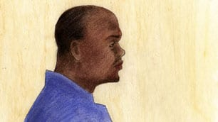 Sketch image of a murder charged of his wife Tamirat Gebere