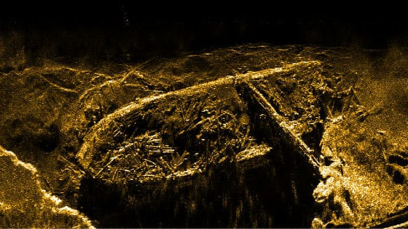 The wreck of HMS Investigator lies on the bottom of Mercy Bay. (Parks Canada)