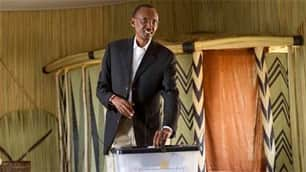 Rwandan President Paul Kagame casts his vote in the country's  election on Monday. Critics have disputed the results, which were  overwhelmingly in his favour.